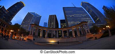panorama, bâtiments, en ville, nuit, skyscaper, métro, chicago, business