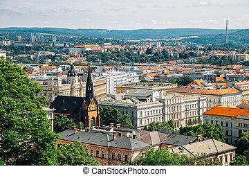 panorama, château, vue, brno, ville, république, spilberk, tchèque, brno