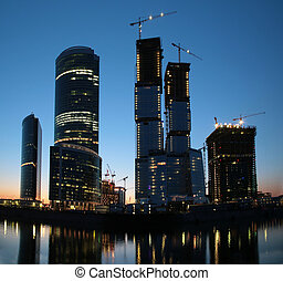 panorama, construction, coucher soleil, gratte-ciel, sous