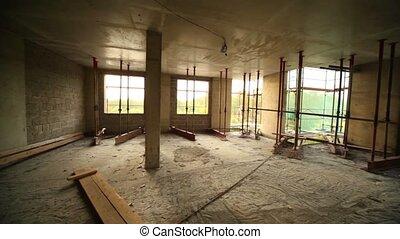 panorama, construction, salle, inachevé, site