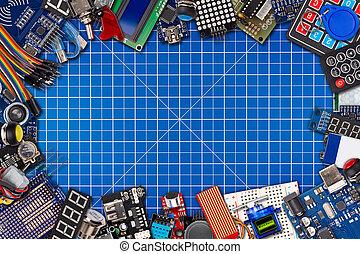 panorama, espace, fil, exposer, microcontroller, collage, capteur, copie, équipement, concept, bouton, planche, bleu, électronique, câble, découpage, natte, fond, cadre, accessoires, commutateurs