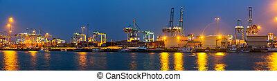 panorama, industriel, port