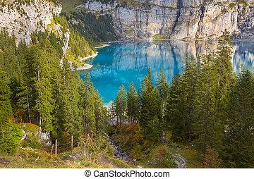panorama, lac, alpes, oeschinensee, switzerland.