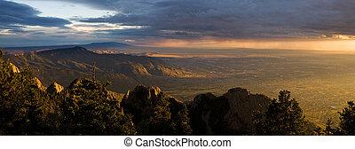 panorama, mexique, albuquerque, coucher soleil, majestueux, nouveau, désert