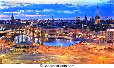 panorama, stockholm, suède, nuit