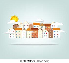 panorama, vecteur, bannière, town.