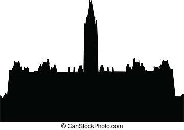 panorama, vecteur, -, ville