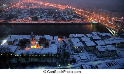 panorama, ville, nuit