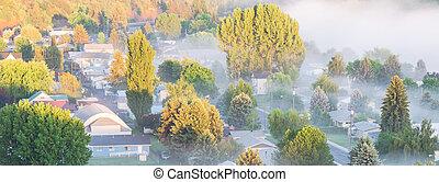 panoramique, brumeux, ville, usa est, petit, colfax, paysage, campagne, washington, aérien
