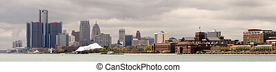 panoramique, en ville, michigan, horizon, rivière, ville, long, détroit