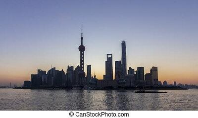 panoramique, horizon, levers de soleil, shanghai, lujiazui