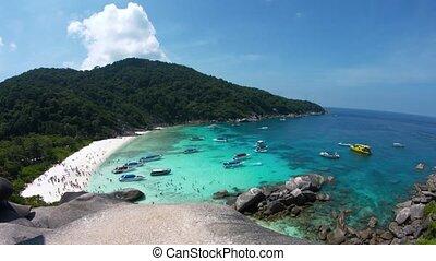 panoramique, plage, bondé, thaïlande, îles, exotique, travers, similan