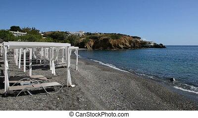panoramique, plage, huttes