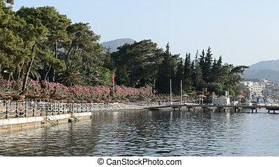 panoramique, recours, plage, turc