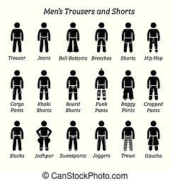pantalon, shorts., hommes, haleter