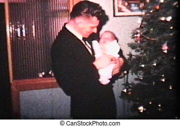 papa, bébé, arbre, noël
