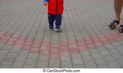 papa, bébé, marche, parc