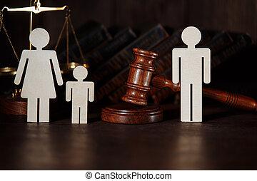 papa, enfant, gavel., figures, divorce, juge, droit & loi, maman, concept