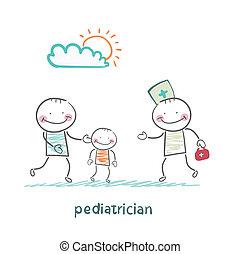 papa, enfant, prend, malade, pédiatre