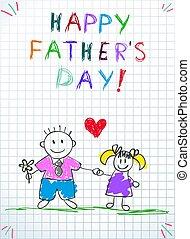 papa, fille, pères, salutation, jour, carte, heureux