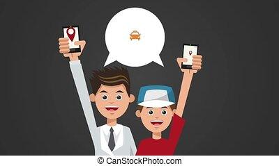 papa, garçon, app, animation, taxi, utilisation, hd