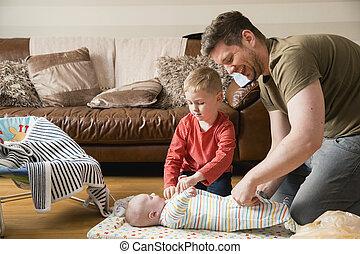 papa, garçon, peu, sien, portion, bébé