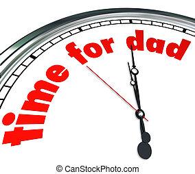 papa, horloge, père, appréciation, paternité, temps, jour