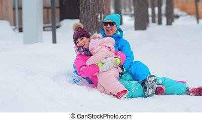 papa, mensonge, enchanté, étreinte, neige, maman, peu, fille