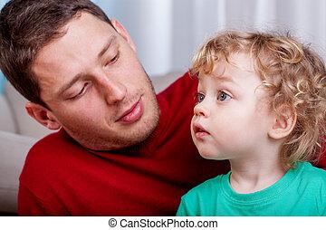 papa, mignon, peu, sien, garçon