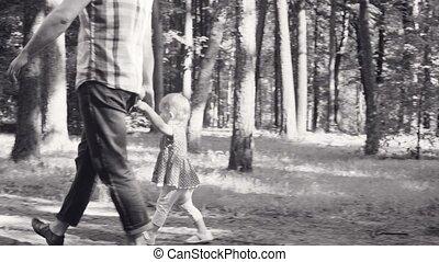 papa, peu, parc, marche, dorlotez fille