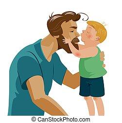 papa, sien, amour, baisers, étreindre, fils, tenderness., nose., baisers, barbe