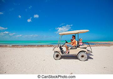 papa, sien, golf, conduite, pays, deux, charrette, exotique, filles