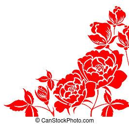 paper-cut, fleur, chinois, pivoine