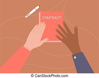 paper., deux, tenant mains