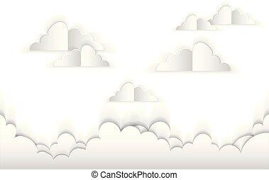paper., vecteur, nuages, illustration