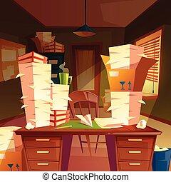paperasserie, bureau, tas, papier, vecteur, vide