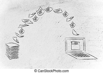 paperless, balayage, documents, tourner, papier, données, office: