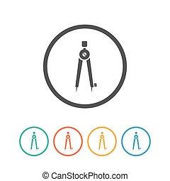 papeterie, icône, vecteur, compas