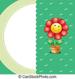 papeterie, sourire, fleur