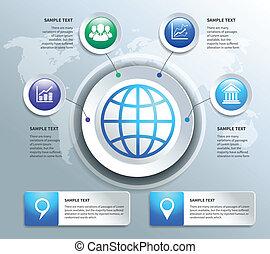 papier, éléments, conception, business, infographics
