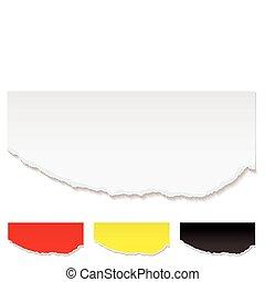 papier, blanc, déchiré, bord