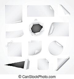 papier, blanc, mettez stylique, éléments