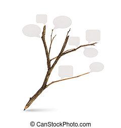 papier, bulle, formé, fond, crayon, parole, blanc, arbre