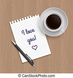 papier, café, tampon, stylo, vide