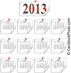 papier, calendrier, 2013, petit, vecteur, blanc