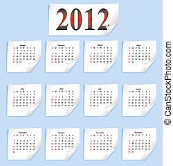 papier, calendrier, vecteur, blanc, 2012