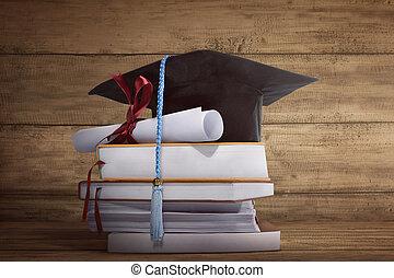 papier, casquette, livre, remise de diplomes, pile