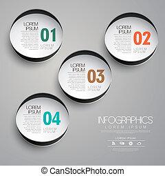 papier, cercle, infographic, éléments, étiquette