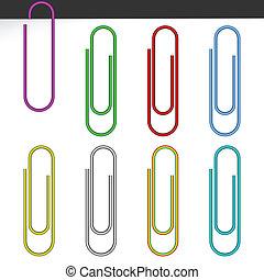 papier, coloré, clips.