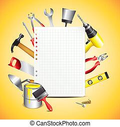papier construction, outils, vide